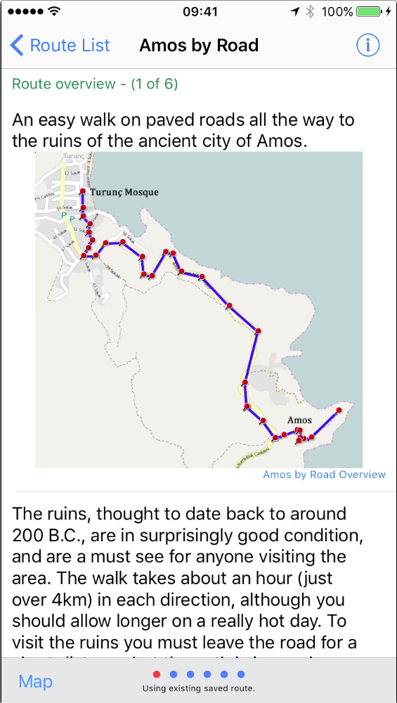 TWalks route overview screen.